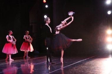 Prima ballerina and soloist of the Mariinsky theatre Ulyana Lopatkina, Andrey Ermakov, pas de de de La Esmeralda at the concert, 275th anniversary of the St. Petersburg Academy of Russian ballet.Vaganova. Moscow. 07.12.2012