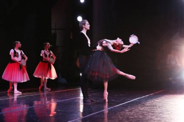 Prima ballerina of the Mariinsky theatre Ulyana Lopatkina and soloist of the Mariinsky theatre Andrei Ermakov perform the pas de de Deux from Esmeralda at the concert