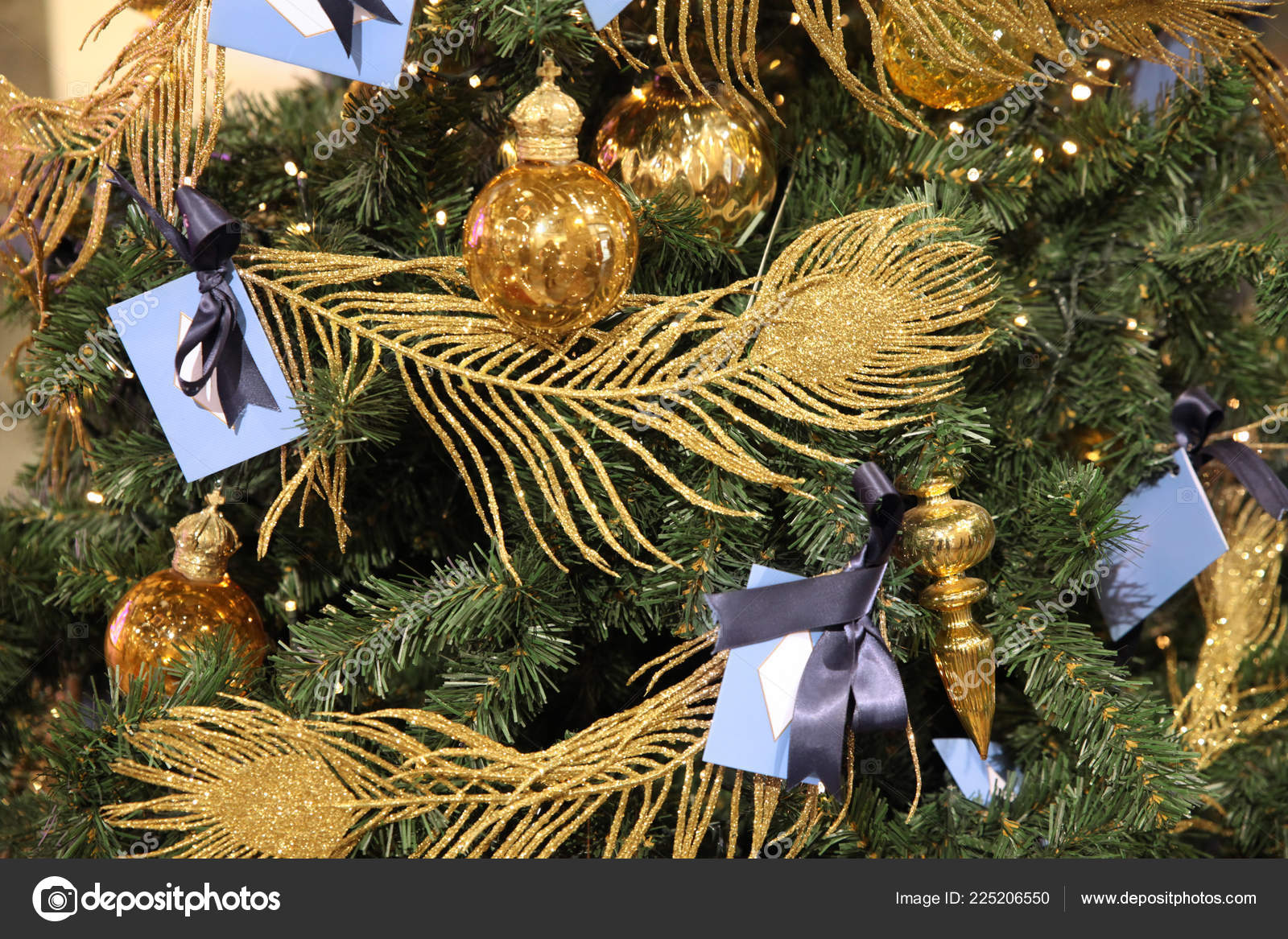 Golden Peacock Feathers Christmas Tree Balls Close Stock Photo Image By C Ozina 225206550