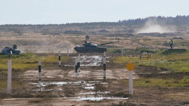 Modern tank at the tank biathlon competition in Alabino near Moscow during the Army-2020 forum