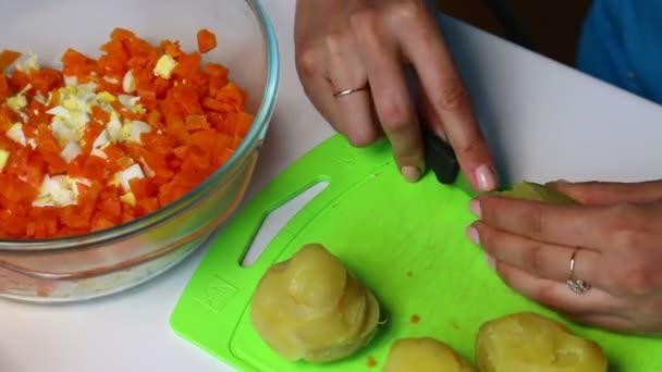 Russische Fleisch Salat Mit Gemüse Und Mayonnaise Eine Frau