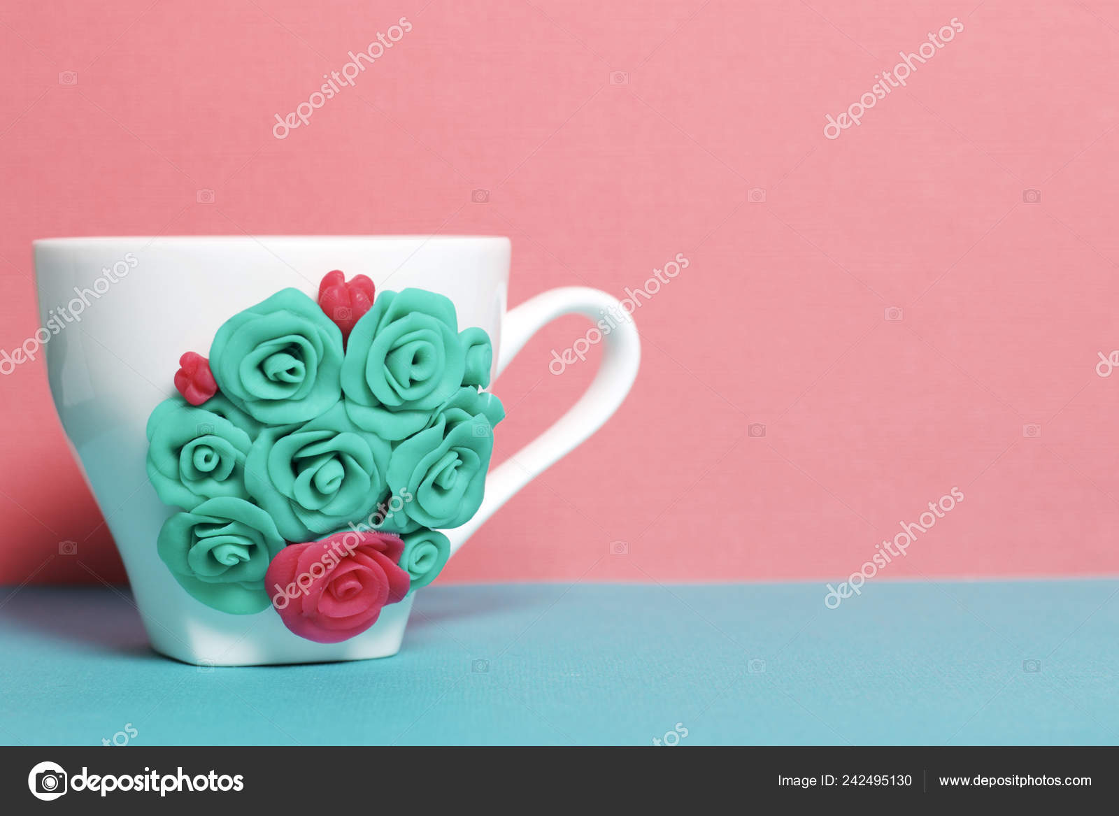 Mug Decorated Flowers Made Polymer Clay Crafts Polymer Clay Mug Stock Photo C Depositvad 242495130