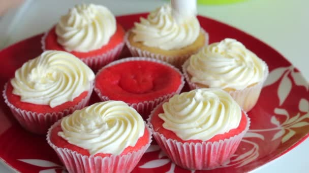 Woman preparing cupcake red velvet. Apply the cream with a pastry bag. The finished cakes are on the plate.