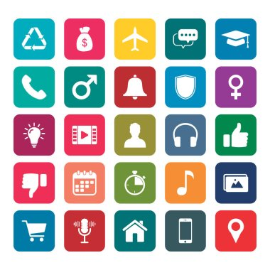 "Картина, постер, плакат, фотообои ""icon pack. 25 иконка для мобильного приложения. набор icon mobile and web app. финансовая икона, икона бизнеса, икона мобильного приложения, икона веб-икона, иконка образовательного приложения. случайный набор значков."", артикул 397646454"