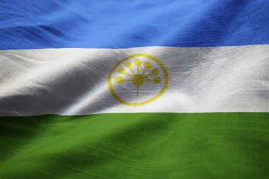 Closeup of Ruffled Bashkortostan Flag, Bashkortostan Flag Blowing in Wind