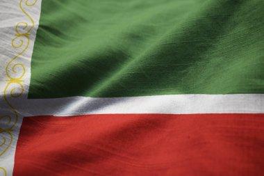 Closeup of Ruffled Chechen Republic Flag, Chechen Republic Flag Blowing in Wind