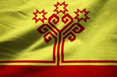Closeup of Ruffled Chuvashia Flag, Chuvashia Flag Blowing in Wind