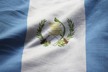Closeup of Ruffled Guatemala Flag, Guatemala Flag Blowing in Wind