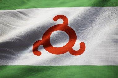 Closeup of Ruffled Ingushetia Flag, Ingushetia Flag Blowing in Wind
