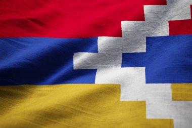 Closeup of Ruffled Nagorno Karabakh Flag, Nagorno Karabakh Flag Blowing in Wind