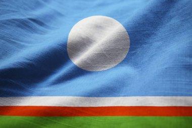 Closeup of Ruffled Sakha Republic Flag, Sakha Republic Flag Blowing in Wind