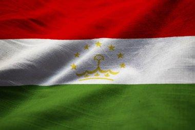 Closeup of Ruffled Tajikistan Flag, Tajikistan Flag Blowing in Wind