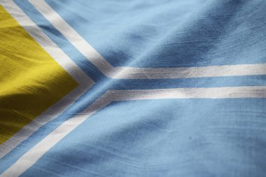 Closeup of Ruffled Tuva Flag, Tuva Flag Blowing in Wind
