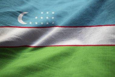 Closeup of Ruffled Uzbekistan Flag, Uzbekistan Flag Blowing in Wind