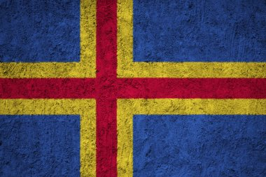 Aland Flag on the grunge concrete wall