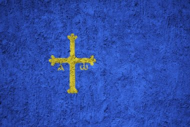 Painted flag of Asturias on the concrete wall