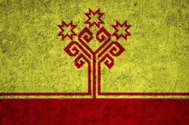 Chuvashia Flag on the grunge concrete wall