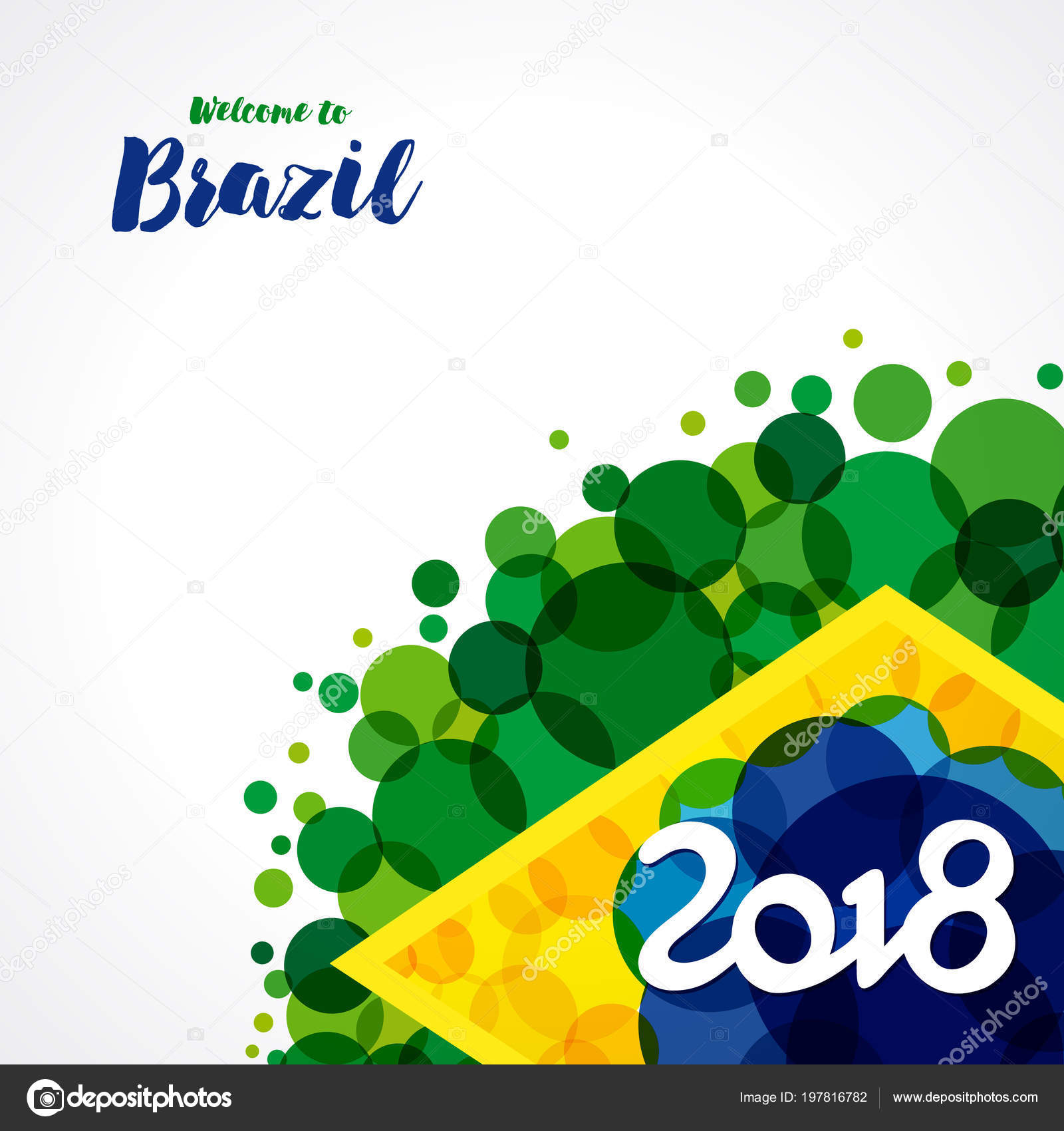 Brezilya 2018 Afiş Hoşgeldiniz Vektör Arka Plan Sulu Boya Lekeleri