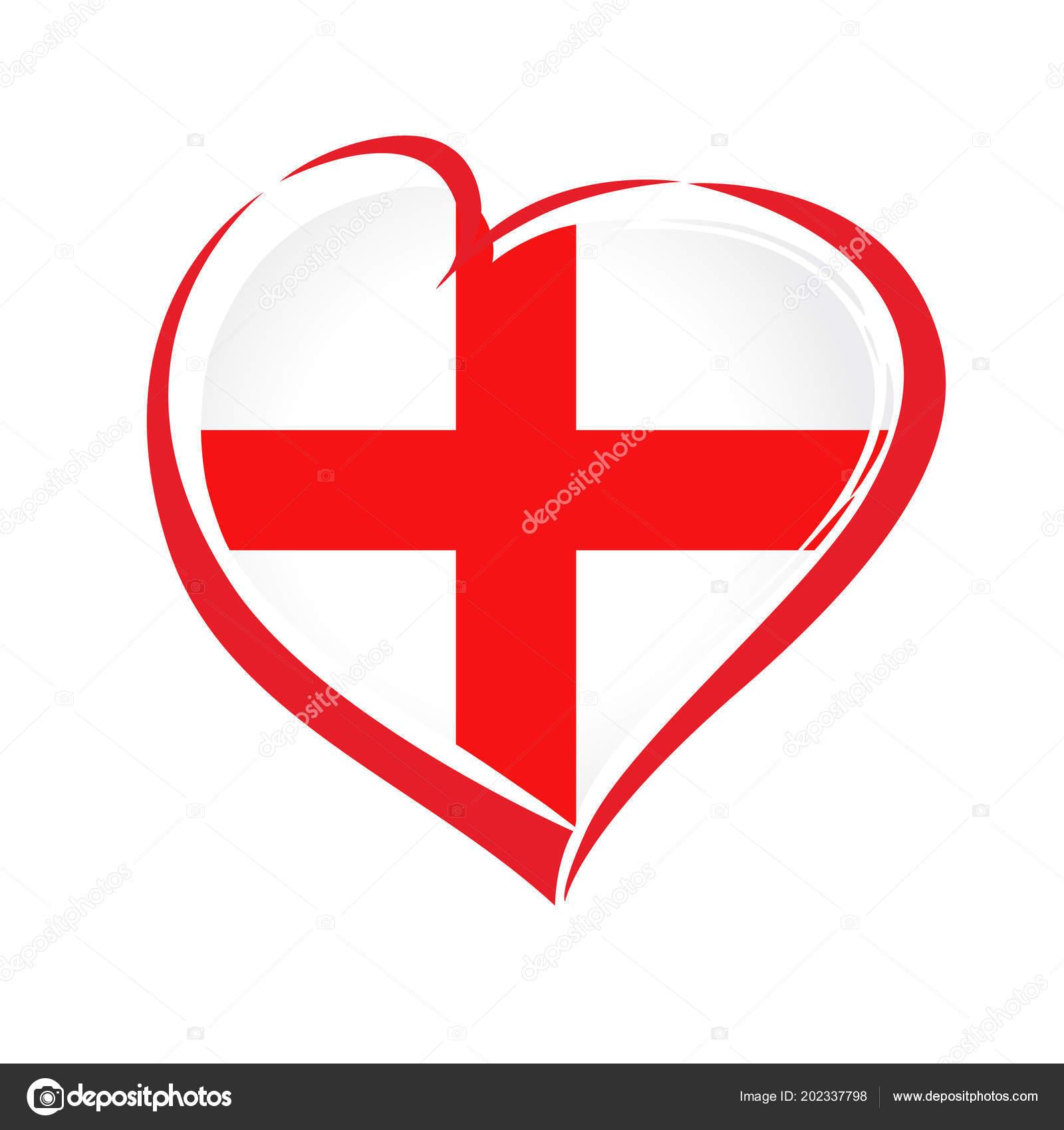Emblème Angleterre Avec Cœur Dans Couleur Drapeau National