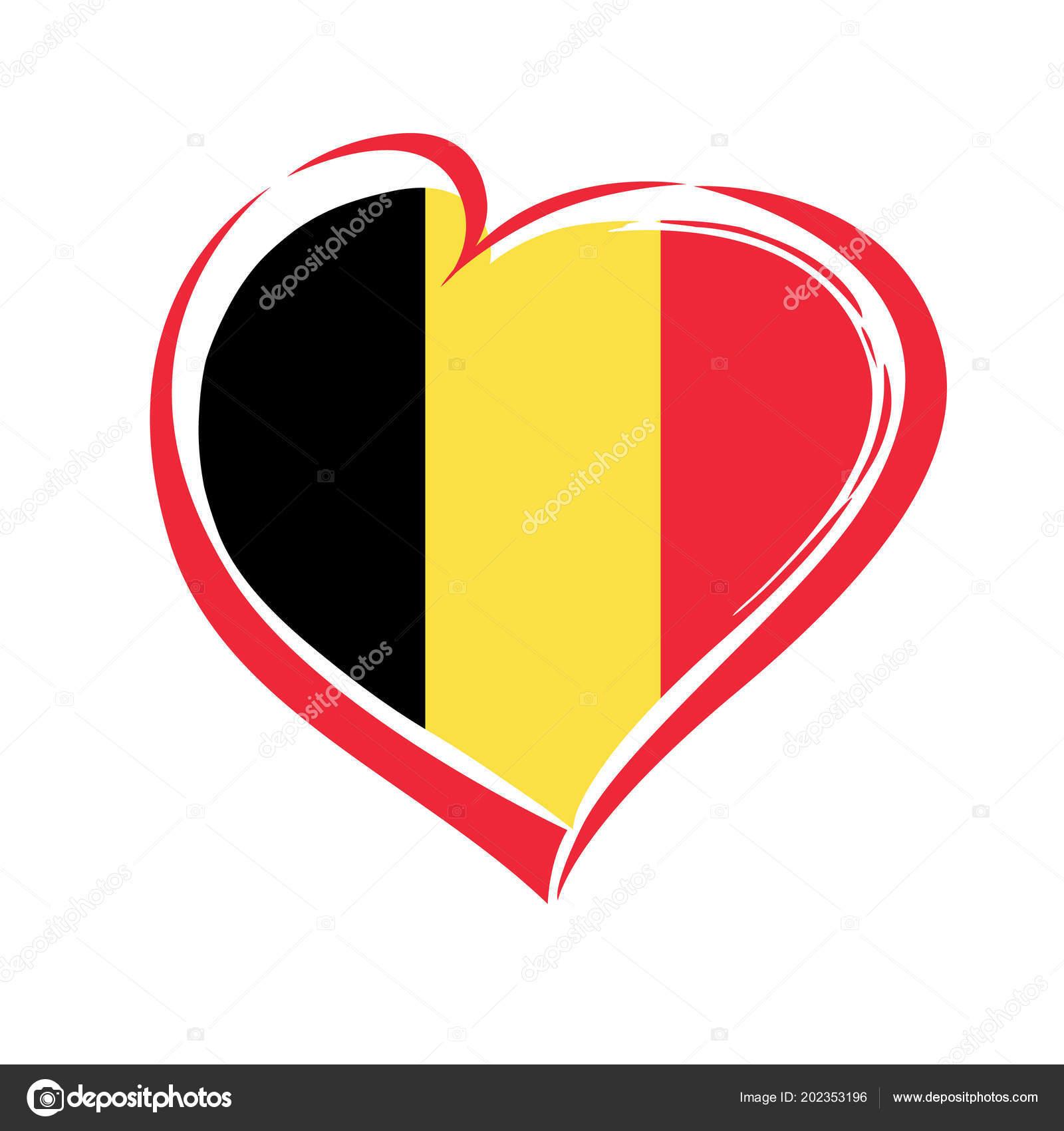 b7c2d001972c Emblema di Belgio di amore con cuore nel colore della bandiera nazionale.  Festa nazionale in Belgio la cartolina d auguri di vettore 4 ottobre 1830.