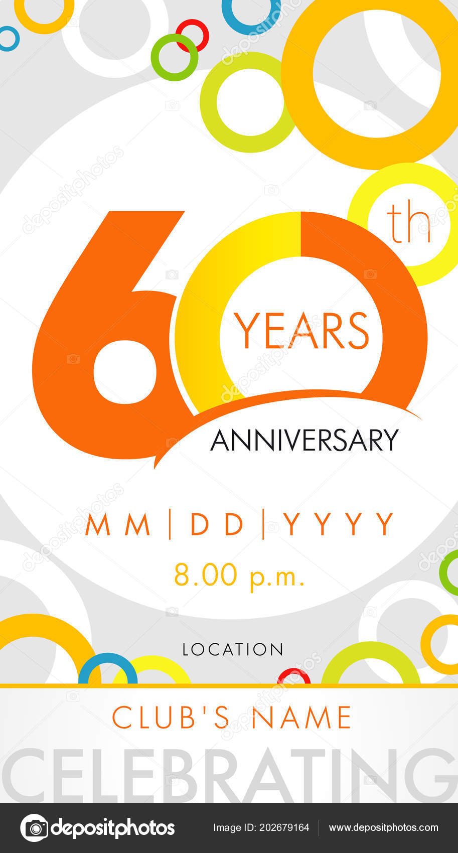 Years anniversary invitation card celebration template concept 60th 60 years anniversary invitation card celebration template concept 60th years anniversary modern design elements with background colored circles stopboris Choice Image
