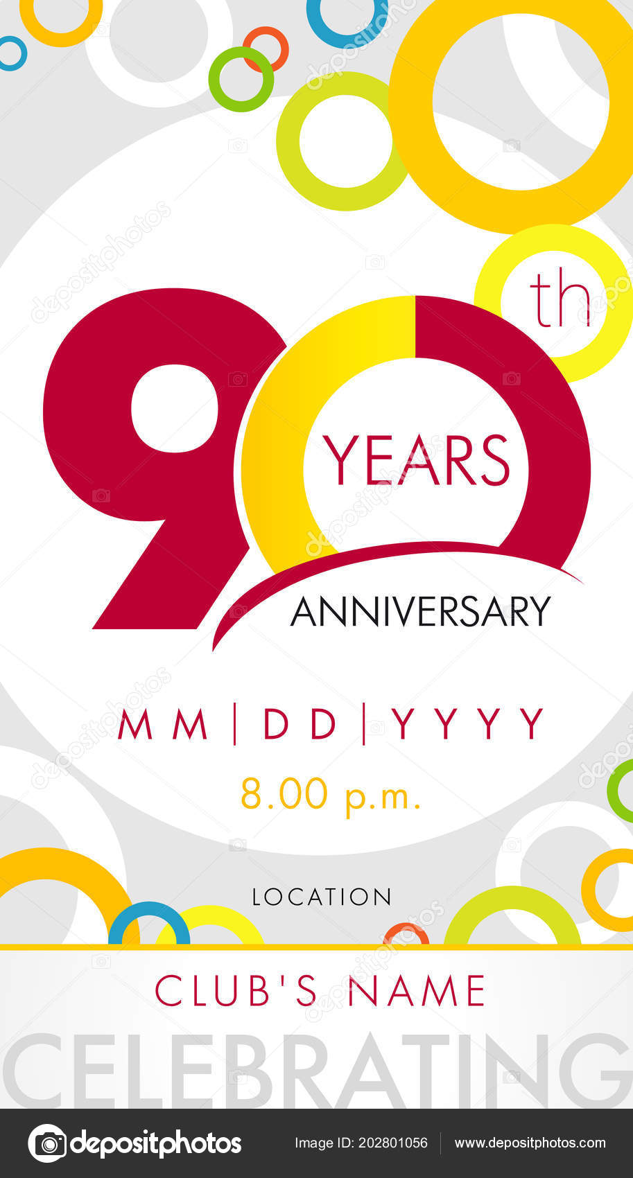 Years anniversary invitation card celebration template concept 90th 90 years anniversary invitation card celebration template concept 90th years anniversary modern design elements with background colored circles stopboris Gallery