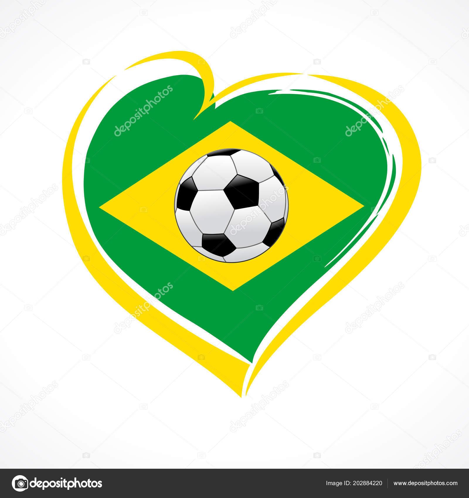 Emblema de Brasil de amor con corazón en color y futbol bola de la bandera  nacional. Banner de la competencia de torneo nacional brasileño de fútbol. e0f5ce12a8051