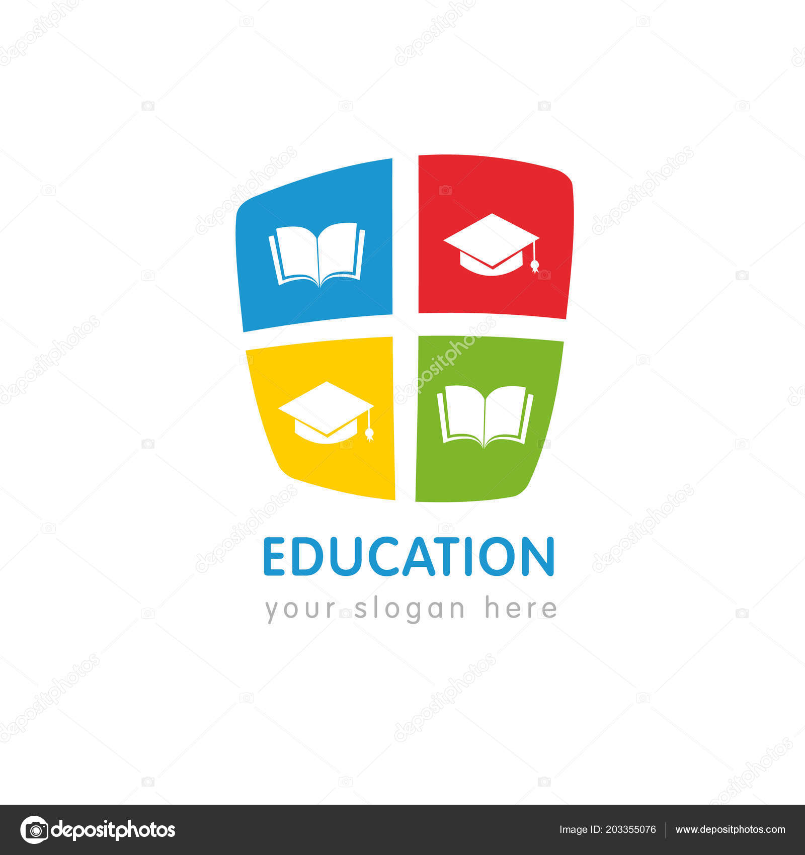 online education logo template open book square academic cap