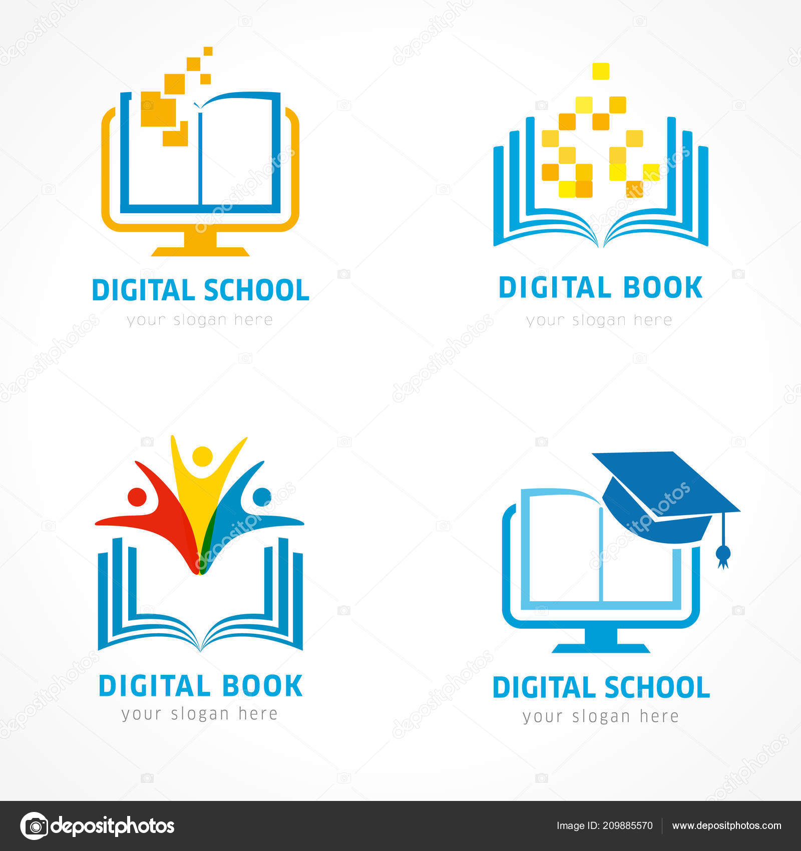 Set Online Education Logo Template Online Learning Pixel