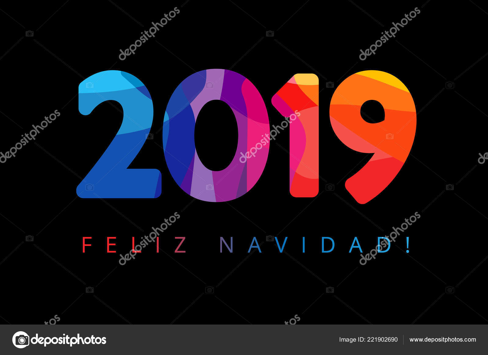 2019 feliz navidad xmas spanish greetings translate merry christmas holidays happy new year black background colorful stained shape isolated digits