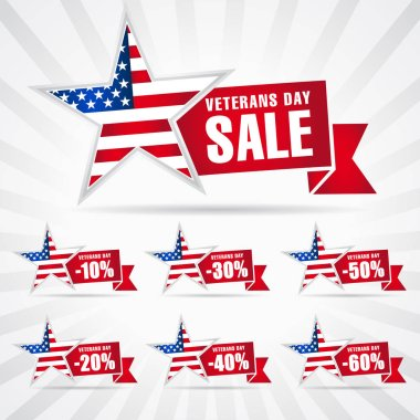 Veterans day USA, sale banner. Special offer stars shepe for November 11, Honoring all who served vector background. 10%, 20%, 30%, 40%, 50%, 60% off discount symbols
