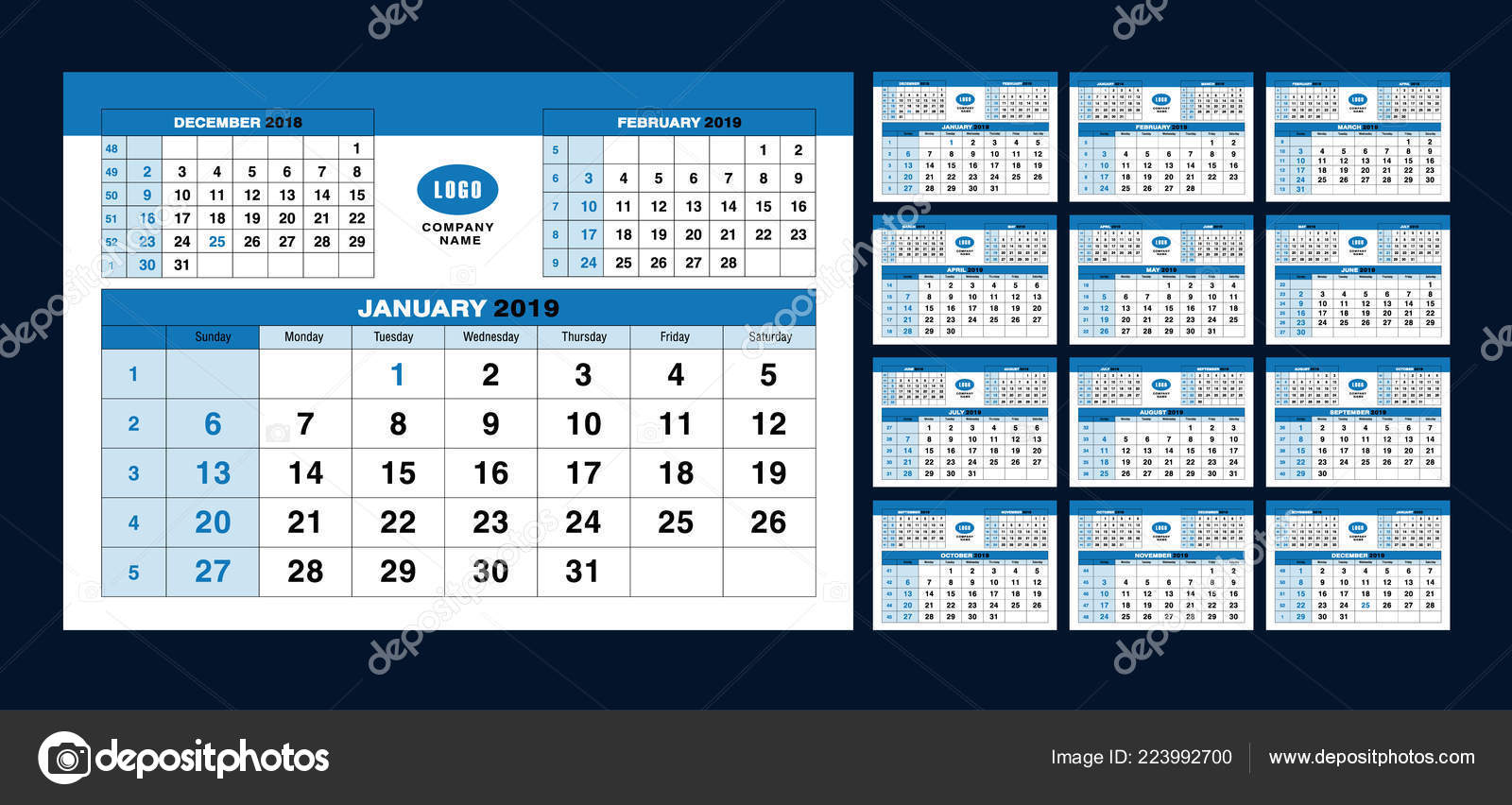 Calendar Pages To Print 2019.Calendar Template 2019 Years Set Calendar Pages Vector Design Print