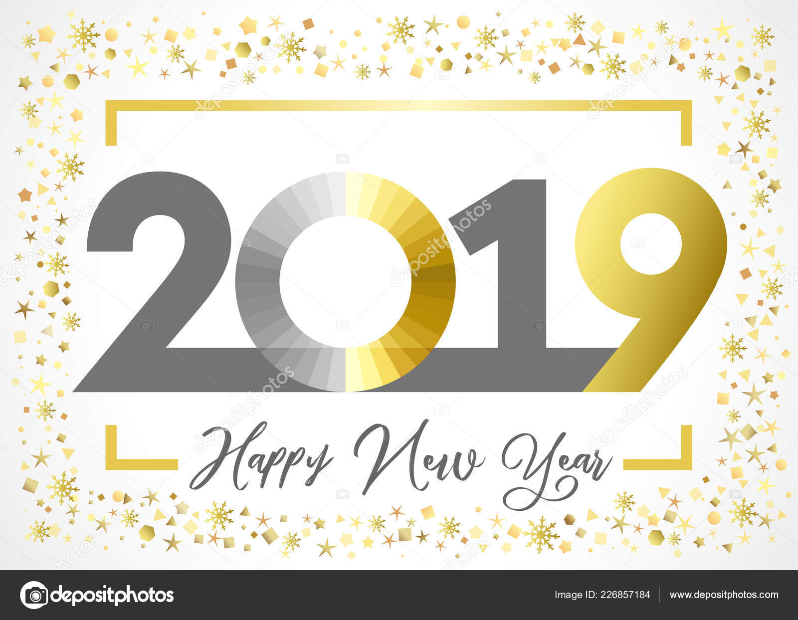2019 golden glitter happy new year xmas greetings card gold stock vector