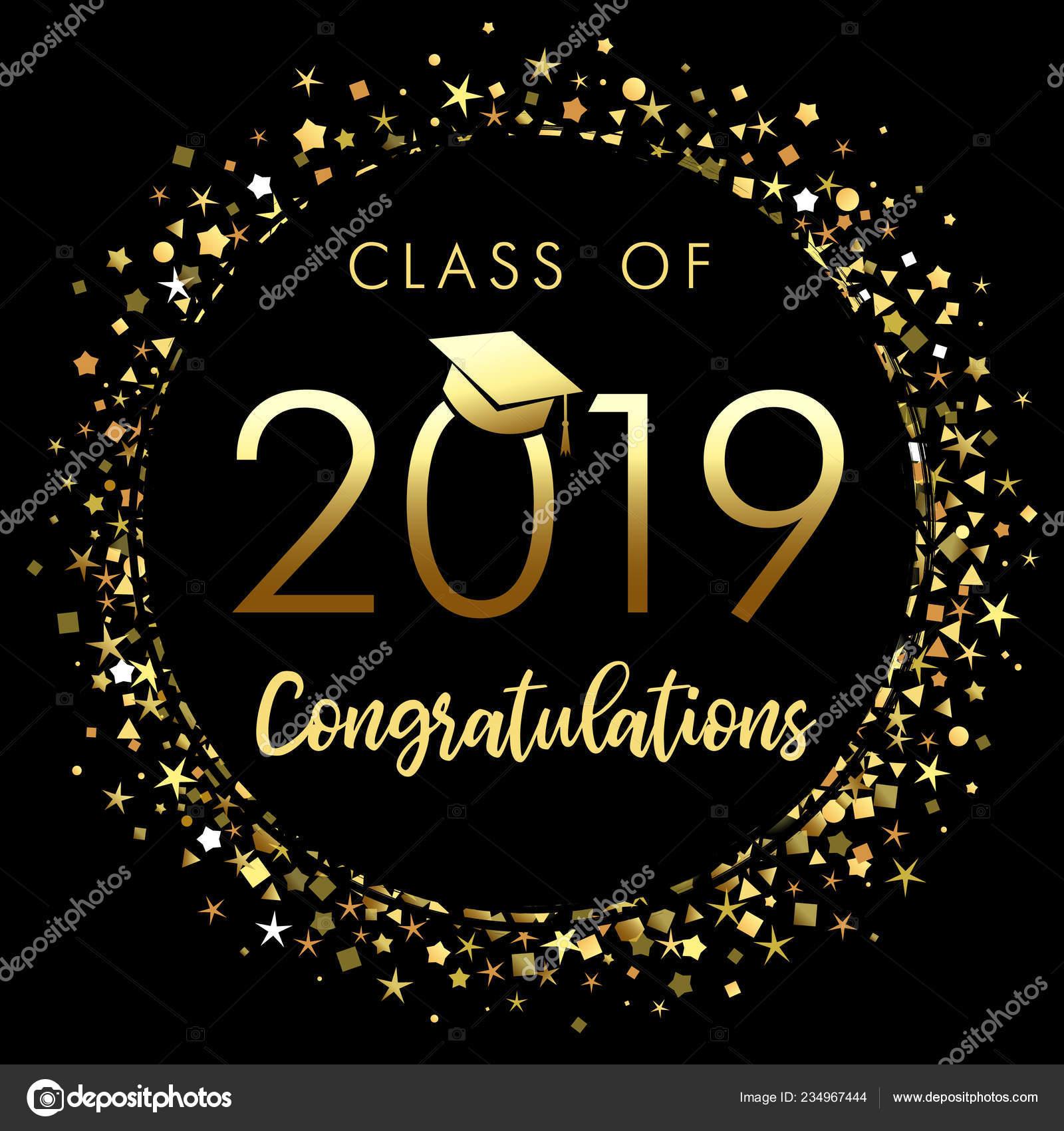 Class 2019 Graduation Poster Gold Glitter Confetti Class