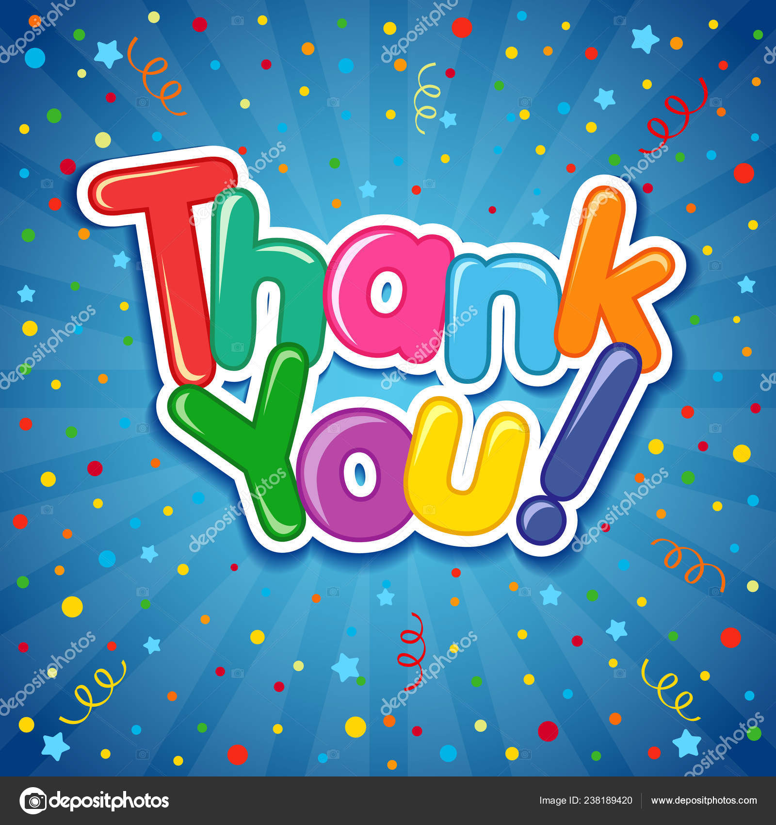 Thank You Inscription Colorful Confetti Background Lettering Thank