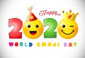 Šťastný světový emoji den 2020 kreativní gratulace. Izolovaná šablona abstraktního grafického návrhu. Ikony úsměvu a jasná čísla roku2020. Vektorová značka. Roztomilý legrační barevný symbol ve 3D stylu. Bílé pozadí.
