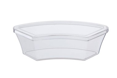 Disposable plastic containers on a white background