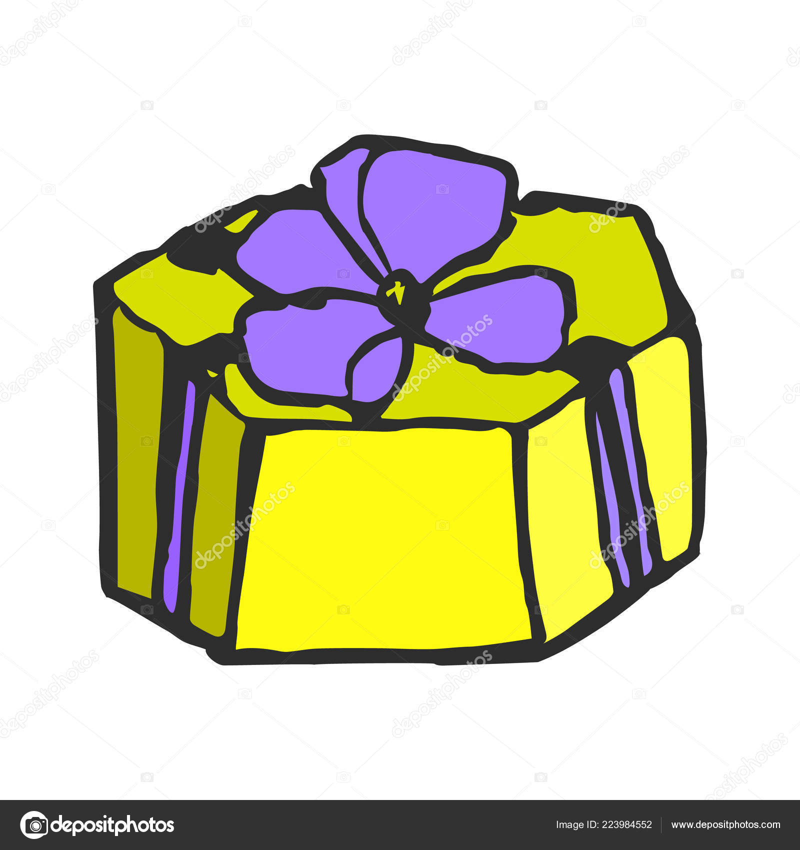 Yellow Gift Box With A Bow Doodle Hand Draw Vector Illustration On