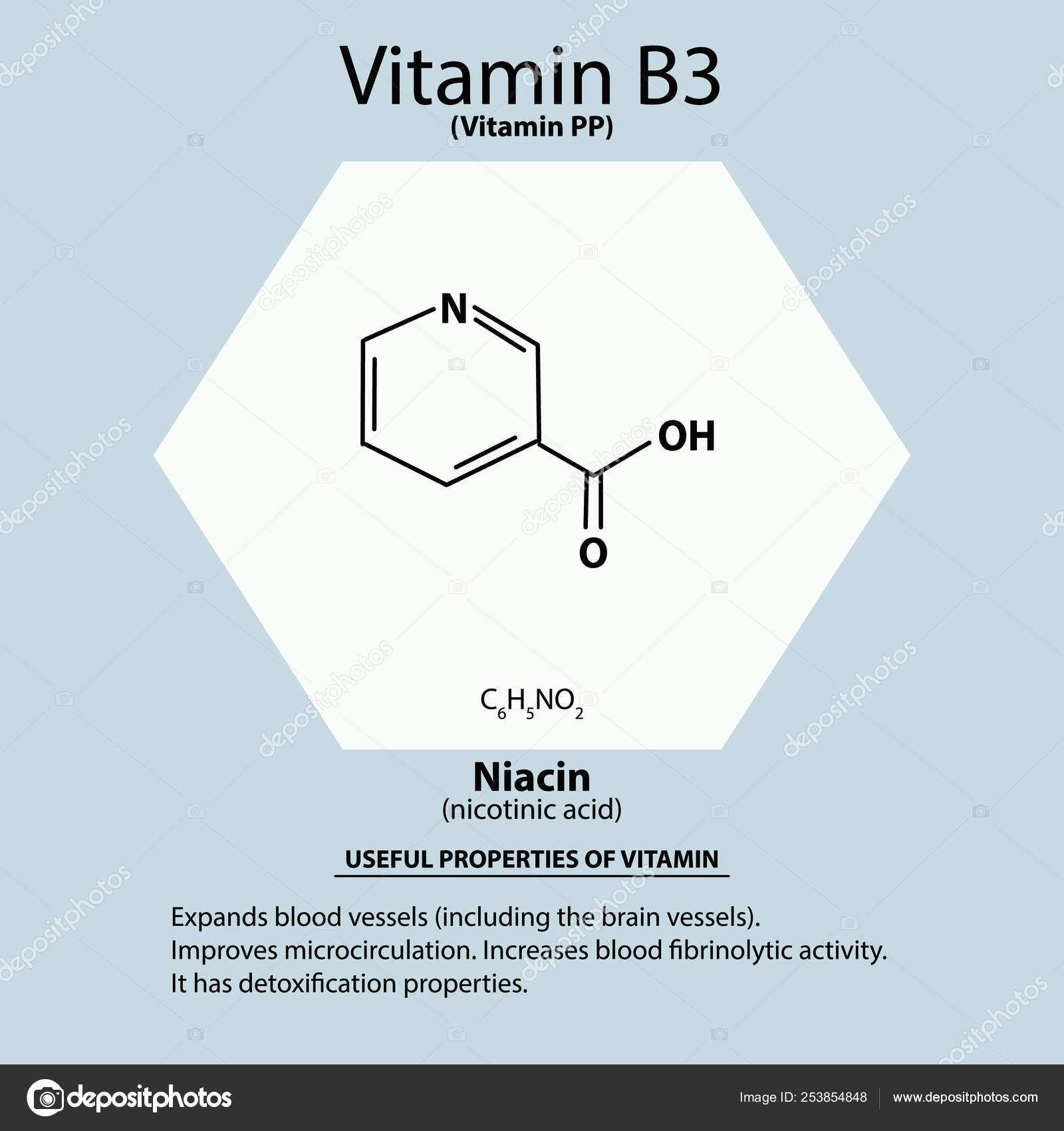 La Vitamina B3 Un ácido Nicotínico Niacina Vitamina Pp