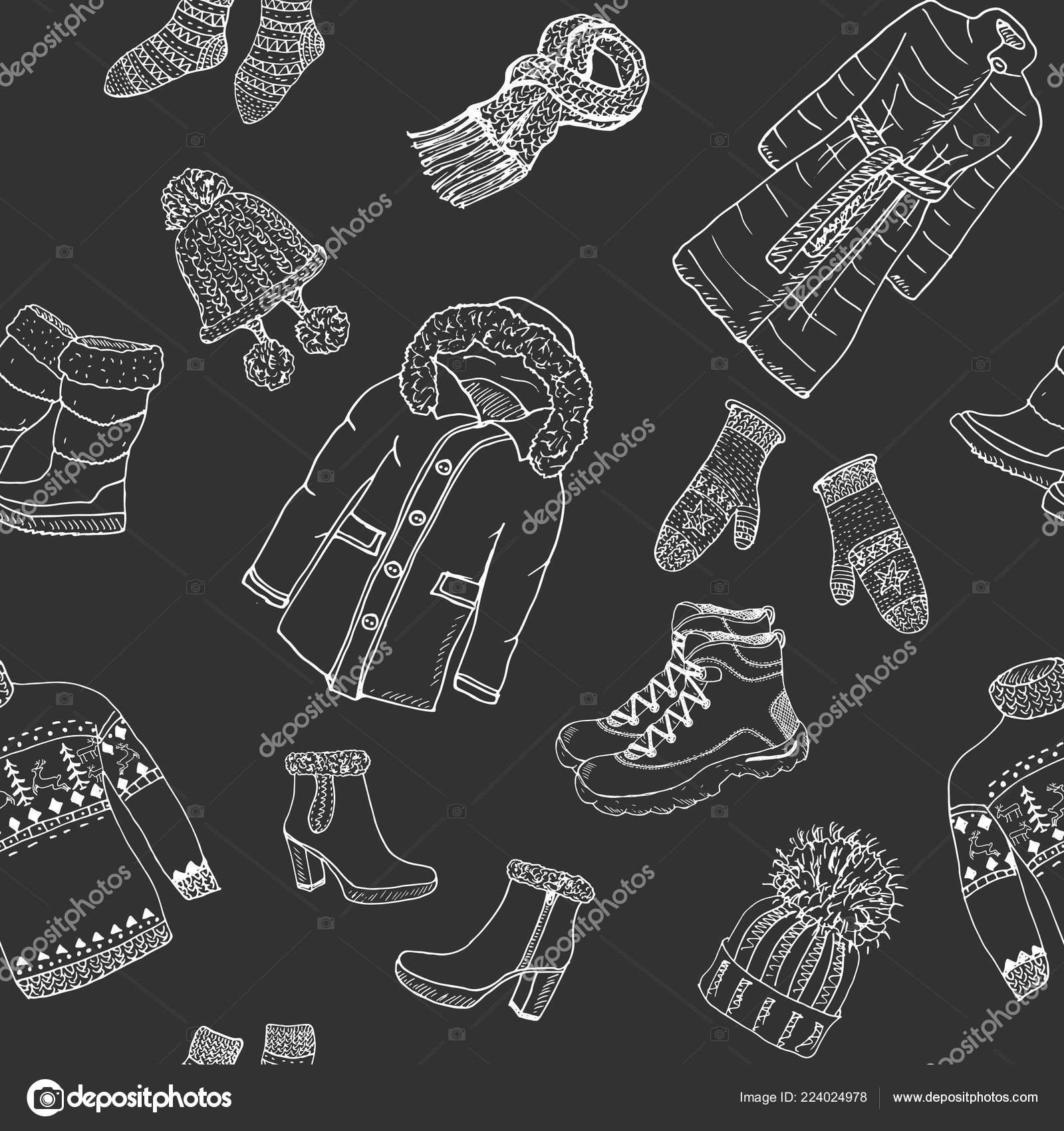 3c83b548729c Winter Season Doodle Clothes Seamless Pattern — Stock Vector ...