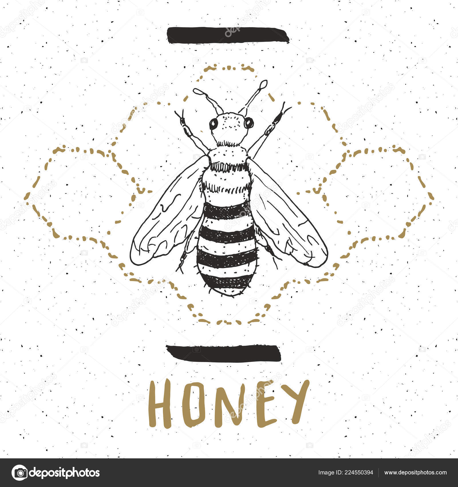 Vintage Label Hand Gezeichnete Biene Strukturierte Abzeichen Grunge