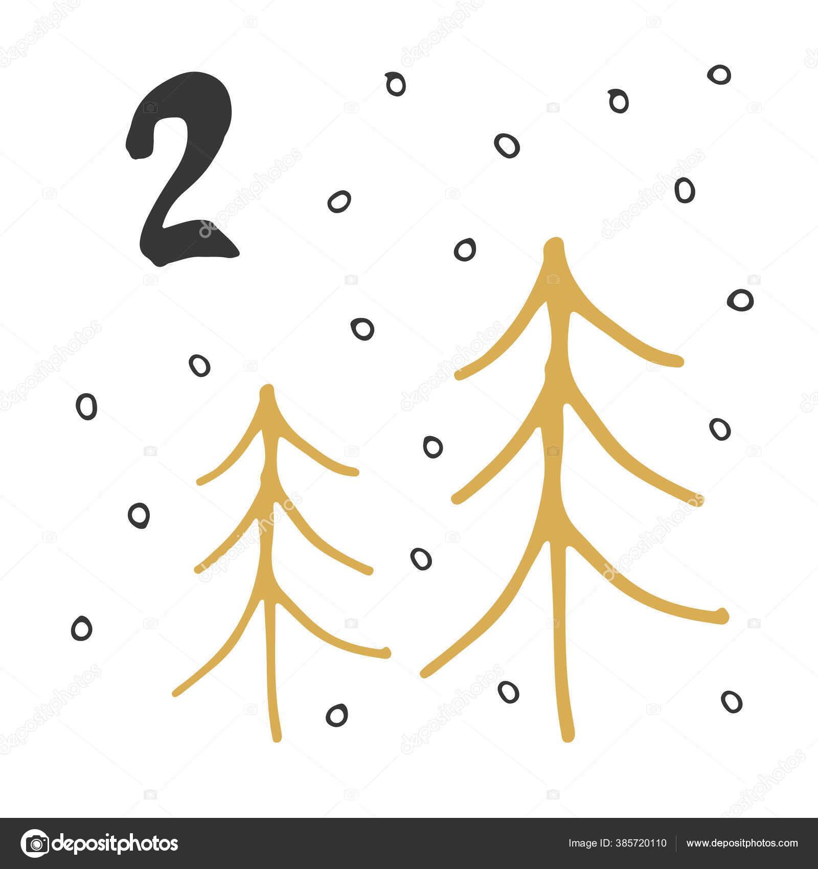 Kalender Kedatangan Natal Unsur Gambar Tangan Dan Angka ...