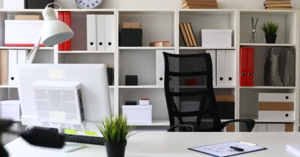 light modern office interior with black office-chair