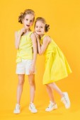 Photo The girls of the twins stand together on a yellow background.