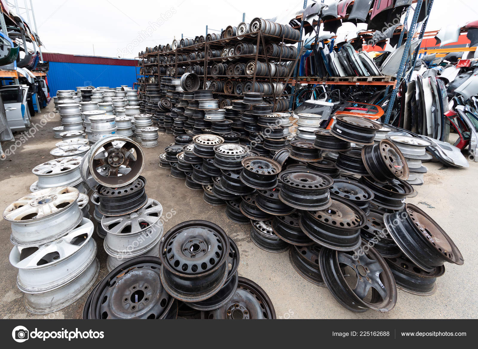 Auto Parts Market Car Wheels Are On The Ground Stock Photo