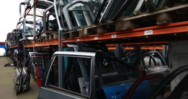 Racks with auto parts.