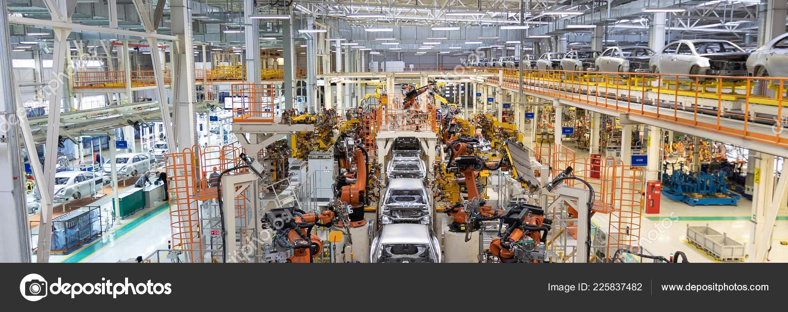Welding of car body  Automotive production line  long format