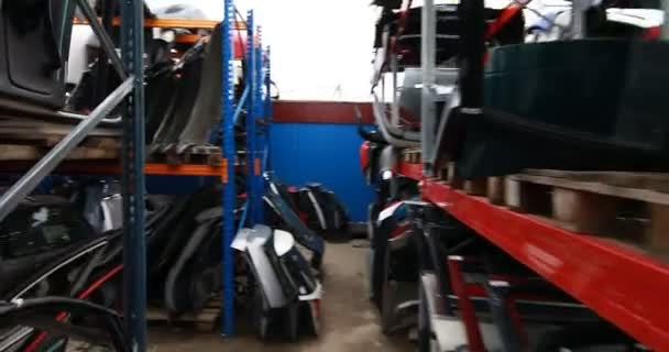 shelves with auto parts for car repairs at market