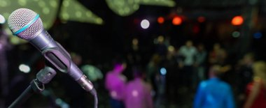 Microphone closeup on the disco club