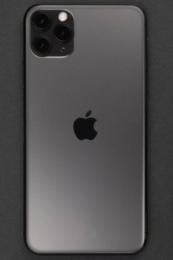 Minsk, Belarus - October, 26, 2019: New Space Gray Iphone 11 Pro Max, back side.